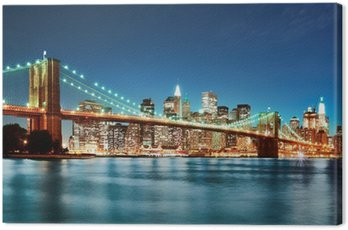 Canvas Print Brooklyn bridge at night