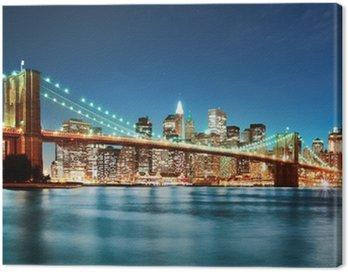 Canvas Print Brooklyn bridge at night
