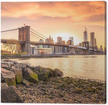 Canvas Print Brooklyn Bridge at sunset