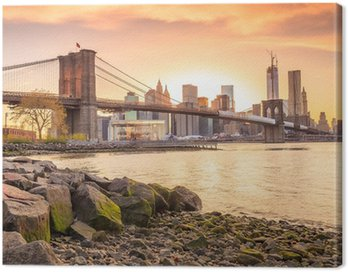 Canvas Print Brooklyn Bridge at sunset