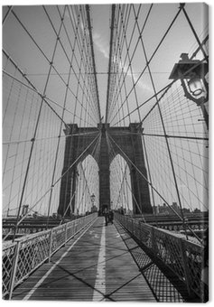Canvas Print Brooklyn Bridge black and white