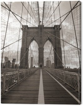 Canvas Print Brooklyn Bridge in New York City. Sepia tone.