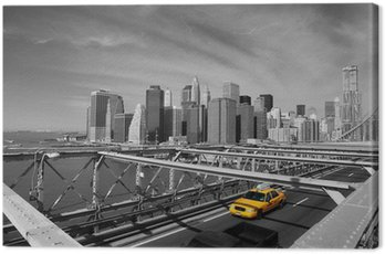 Canvas Print Brooklyn Bridge Taxi, New York