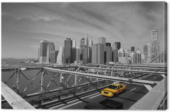 Canvas Print Brooklyn Bridge Taxi, New York