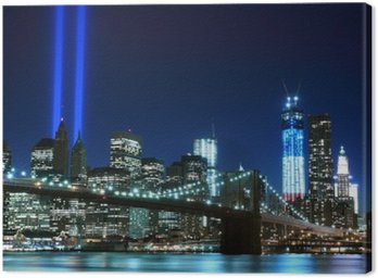 Canvas Print Brooklyn Brigde and the Towers of Lights , New York City