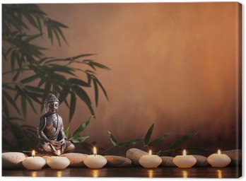 Canvas Print Buddha with burning candle and bamboo