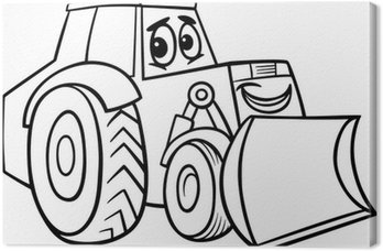 Canvas Print bulldozer cartoon for coloring book