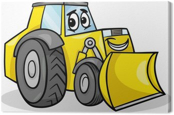 Canvas Print bulldozer character cartoon illustration