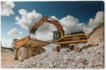 Canvas Print bulldozer excavator in quarry