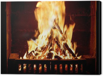 Canvas Print Burning fire in the fireplace