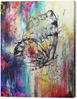 Canvas Print Butterfly with flower. Original hand draw. Computer collage and Abstract background.