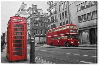 Canvas Print Cabine téléphonique et bus rouges à Londres (UK)
