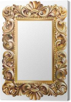 Canvas Print Cadre rococo rectangulaire doré
