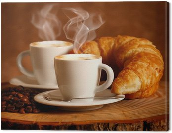 Canvas Print Cappuccino caldo e Brioche