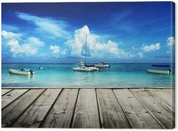 Canvas Print Caribbean beach and yachts