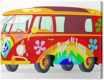 Canvas Print Caricatura furgoneta Volkswagen T1 microbus hippie multicolor vista frontal y lateral