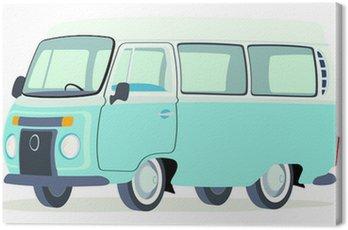 Canvas Print Caricatura furgoneta Volkswagen T2 microbus brasilera azul y blanca vista frontal y lateral