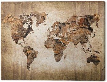Canvas Print Carte du monde bois, texture vintage