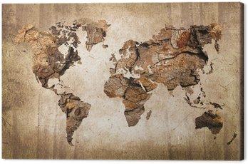 Carte du monde bois, texture vintage Canvas Print