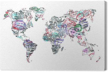 Canvas Print Carte du monde tampons de passeport, isolé