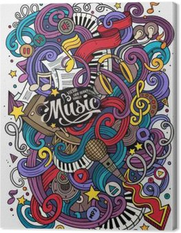Canvas Print Cartoon hand-drawn doodles Musical illustration