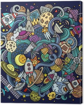 Canvas Print Cartoon hand-drawn doodles Space illustration
