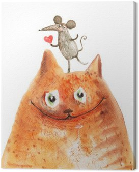 Canvas Print cat with mause
