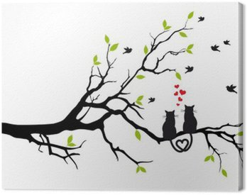 Canvas Print cats in love on tree branch, vector