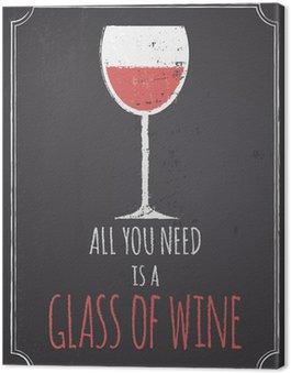 Canvas Print Chalkboard Red Wine Design