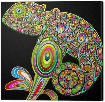 Chameleon Psychedelic Art Design-Camaleonte Psichedelico-Vector Canvas Print