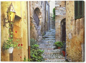 Canvas Print charming old streets of mediterranean