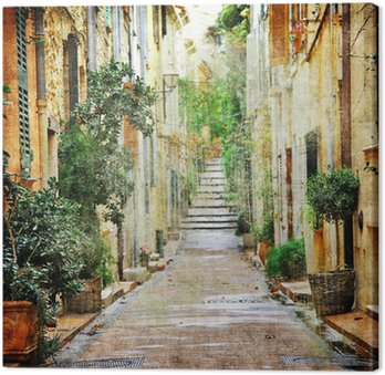 Canvas Print charming streets of mediterranian, artistic picture