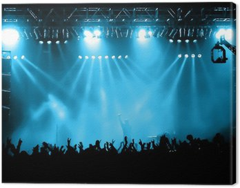 Canvas Print Cheering crowd at concert, musicians on the stage