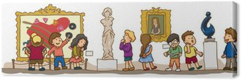 Children are having an educational study at the art gallery muse Canvas Print