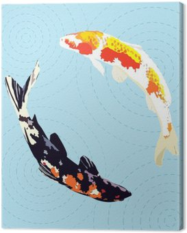 Canvas Print chinese carp, japanese koi fish, vector illustration
