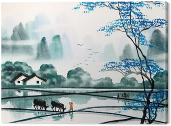 Chinese landscape watercolor painting Canvas Print