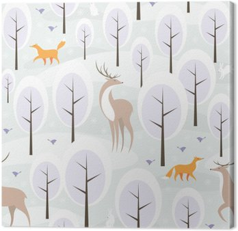 Christmas seamless pattern with the image of the winter forest and wild animals Canvas Print