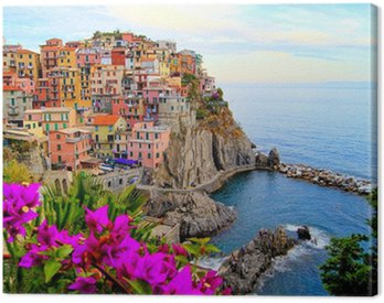 Cinque Terre coast of Italy with flowers Canvas Print