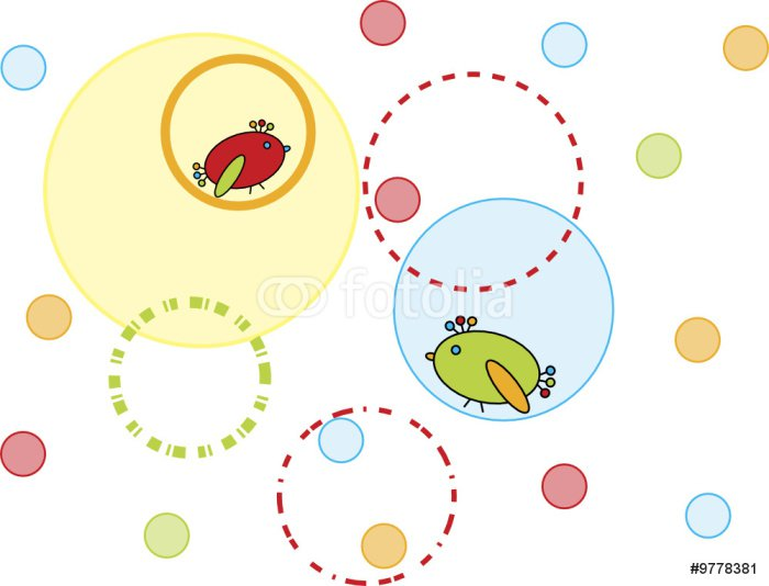 Canvas Print Circleas and two birds abstract background -