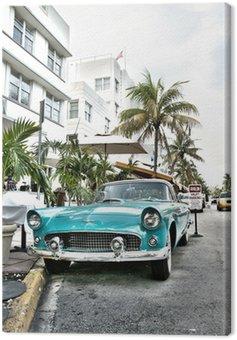 Canvas Print Classic american car on South Beach, Miami