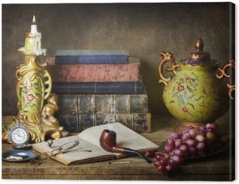 Canvas Print Classic still life with antiques,vintage books,old pipe, glasses,pocket watch and grapes on rustic wooden table.