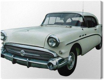 Canvas Print classic white retro car isolated