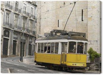 Canvas Print classic yellow tram of Lisbon, Portugal