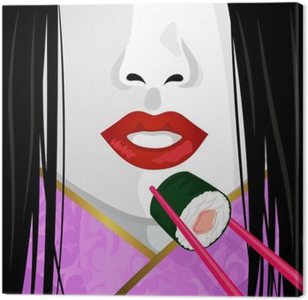close up on face of Japanese woman eating sushi Canvas Print