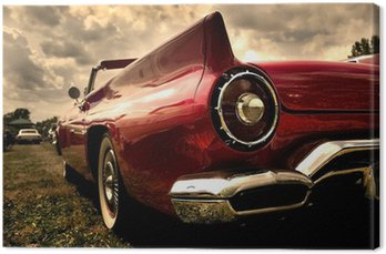 Canvas Print Close up shot of a vintage car in sepia color tone