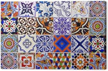 Canvas Print Close up traditional Lisbon ceramic tiles