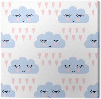 Clouds pattern. Seamless pattern with smiling sleeping clouds and hearts for kids holidays. Cute baby shower vector background. Child drawing style rainy clouds in love vector illustration. Canvas Print