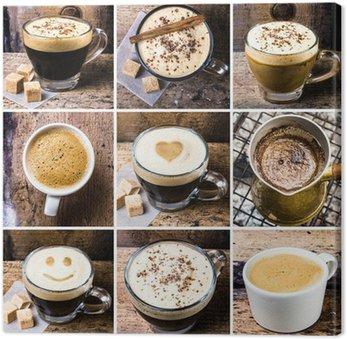 Canvas Print Coffee collage with Coffee espresso, cappuccino, latte and mocha