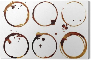 Coffee cup rings isolated on a white background Canvas Print