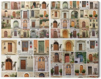 collage made of many images of beautiful old doors from Italy, E